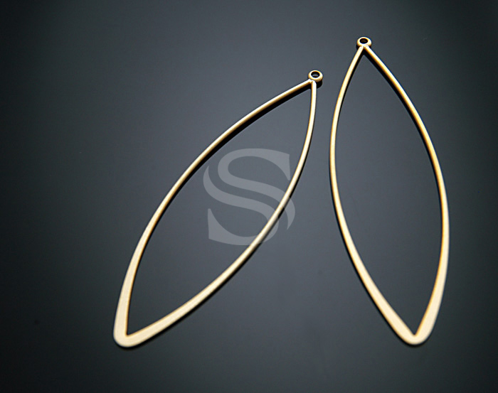 [B0187-P-MG] 4 Pcs / Long Marquise Shaped Pendant / 15.5mm x 62mm